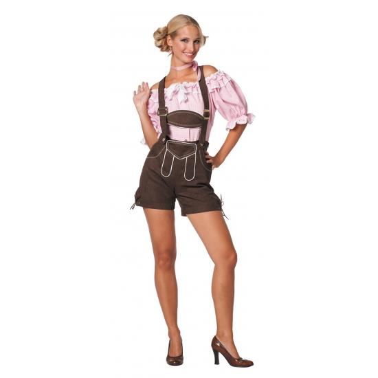 Korte Oktoberfest Lederhose Donkerbruin Verkleedkleding Shop Voor